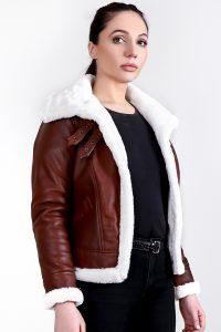 Vanda Fur Brown Leather Jacket Half Side