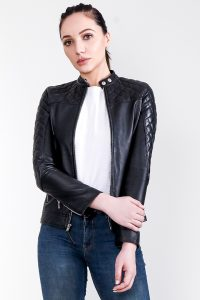 Marilyn Quilted Black Leather Jacket Half Front