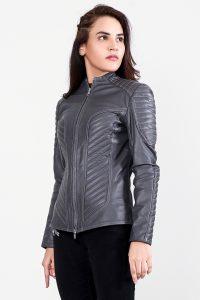 Celeste Quilted Grey Leather Jacket Half Side