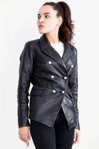 Norma Black Leather Blazer Half Side