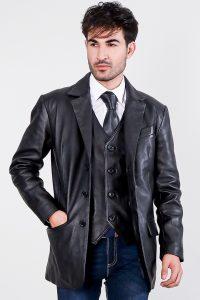 Ray Cutler Black Leather Blazer Half Front