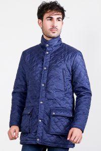 Vincent Ally Quilted Blue Windbreaker Jacket Side 2