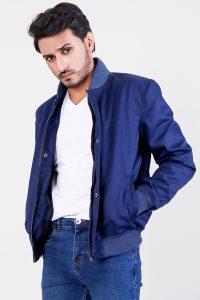 Lavendard Blue Cotton Bomber Jacket Half