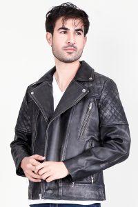 Danny Quilted Distressed Black Leather Biker Jacket Side 2