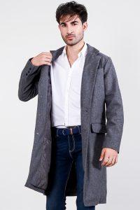 Drake Grey Wool Single Breasted Coat Front Half 2