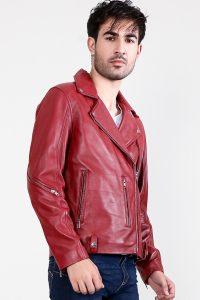 Mystical Red Leather Biker Jacket Side Half