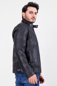 Mystical Red Leather Biker Jacket Half Side 2