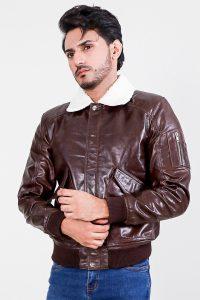 Furton Brown Biker Bomber Leather Jacket Half front