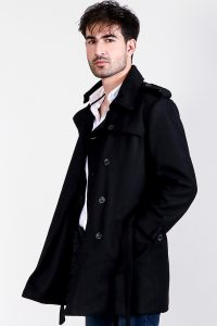Detective Black Wool Double Breasted Coat Half Side