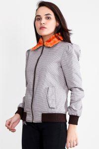 Flashback Grey Fabric Bomber Jacket Half Front