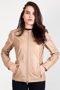 Nexi Cream Leather Biker Jacket Half Front