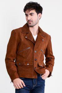 Borges Brown Suede Jacket Half Front Close