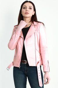 Haley Rey Pink Leather Biker Jacket Half Front