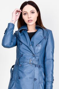 Missoni Blue Leather Trench Coat Half Front