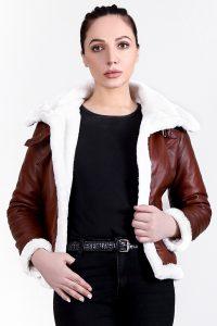 Vanda Fur Brown Leather Jacket Half Front