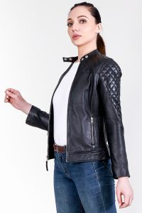 Marilyn Quilted Black Leather Jacket Half Side