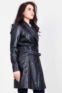 Luxe Black Leather Trench Coat Half Side
