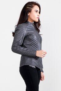 Celeste Quilted Grey Leather Jacket Half Side 2