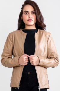Nexi Cream Leather Biker Jacket Half Front Open