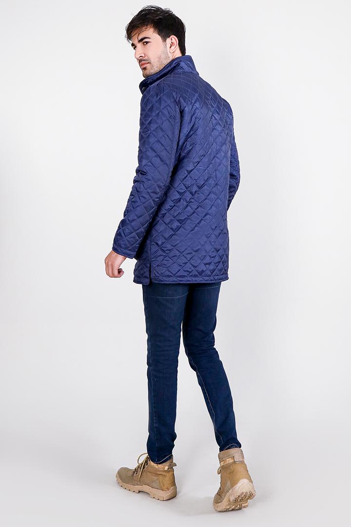 Vincent Ally Quilted Blue Windbreaker Jacket Full Back