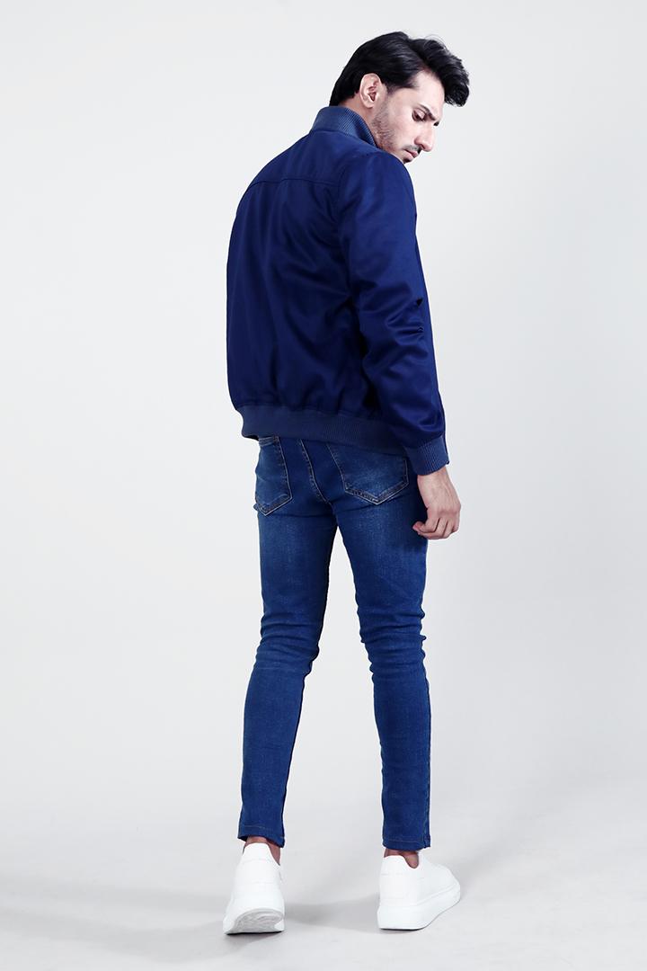 Lavendard Blue Cotton Bomber Jacket Full Back
