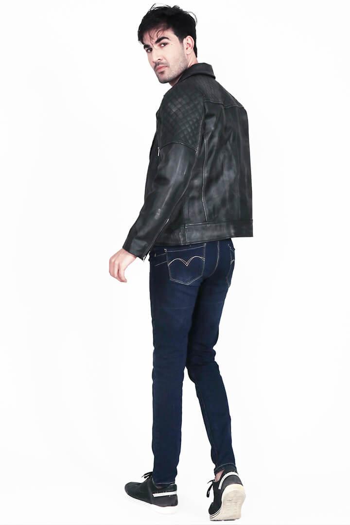 Danny Quilted Distressed Black Leather Biker Jacket Back Full