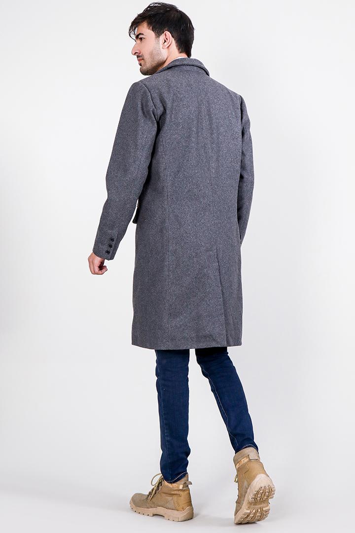 Drake Grey Wool Single Breasted Coat Full Back