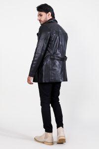 Dolf Black Leather Naval Peacoat Side back Full