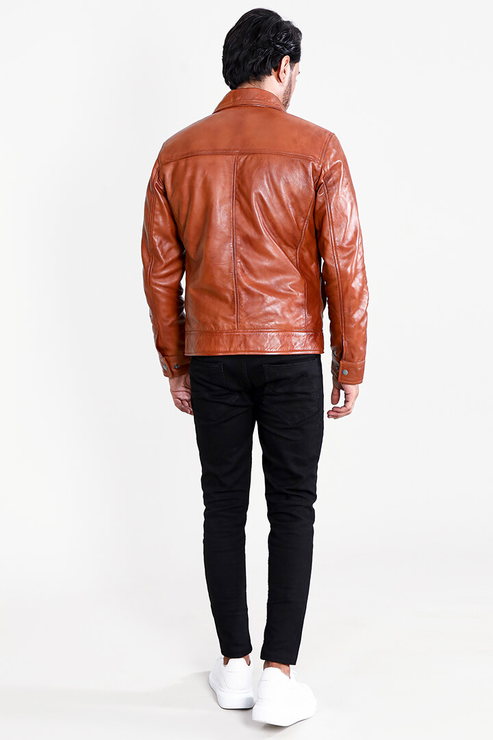 Eaton Brown Suede Bomber Jacket Full Back
