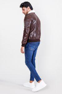 Furton Brown Biker Bomber Leather Jacket Full Side
