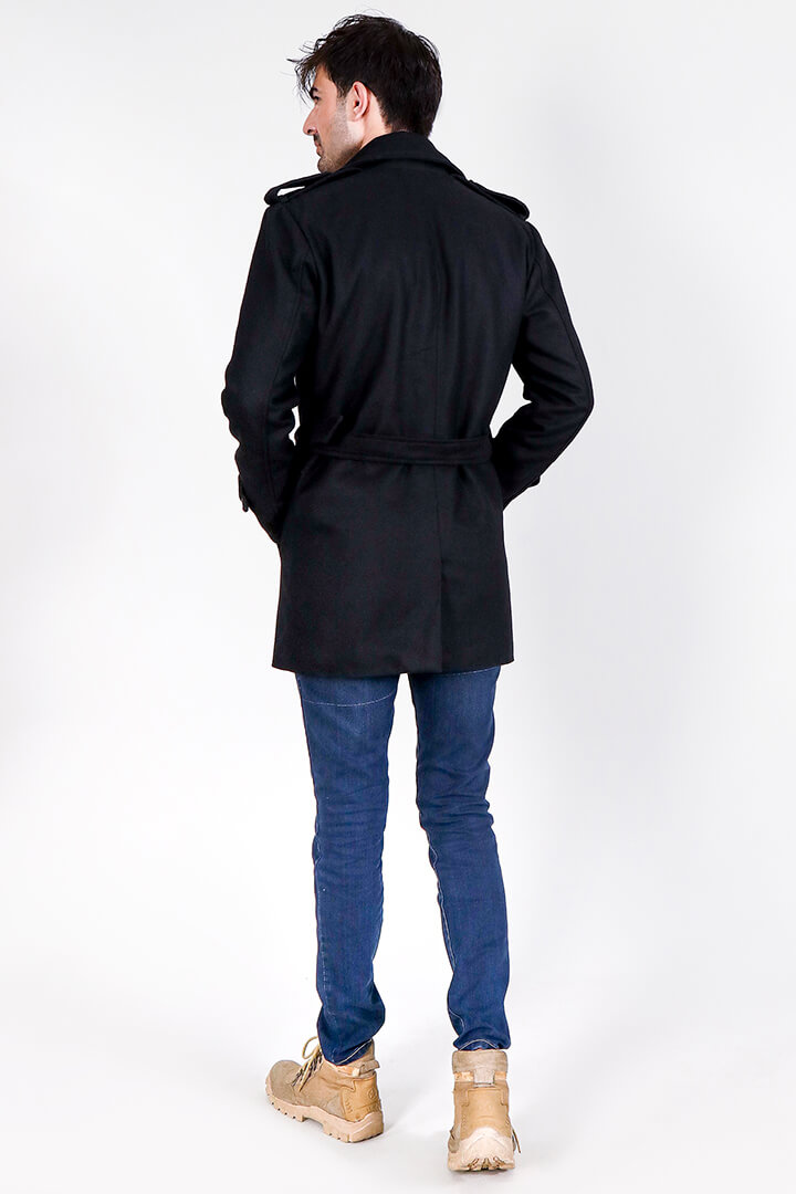 Detective Black Wool Double Breasted Coat Full Front