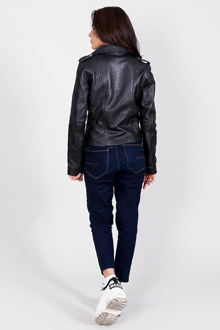 Carolyn Black Crocodile Leather Biker Jacket Full Back