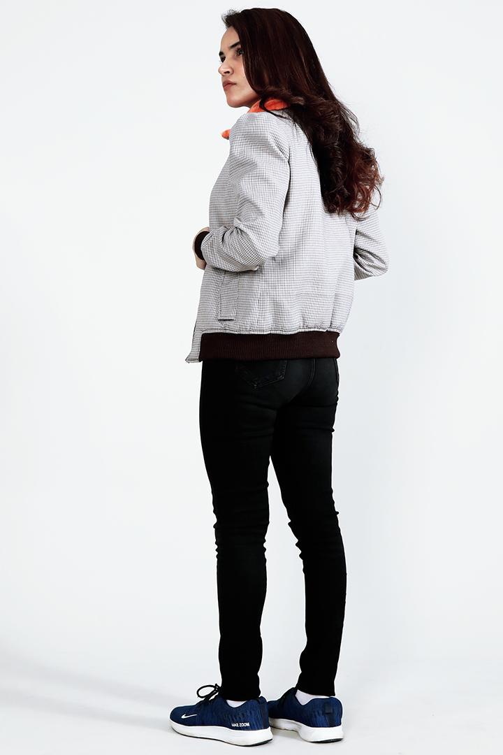 Flashback Grey Fabric Bomber Jacket Full Back