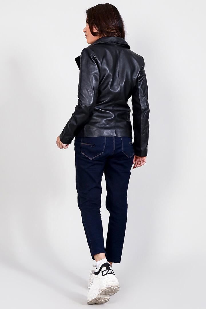 Tomachi Black Leather Biker Jacket Full Back
