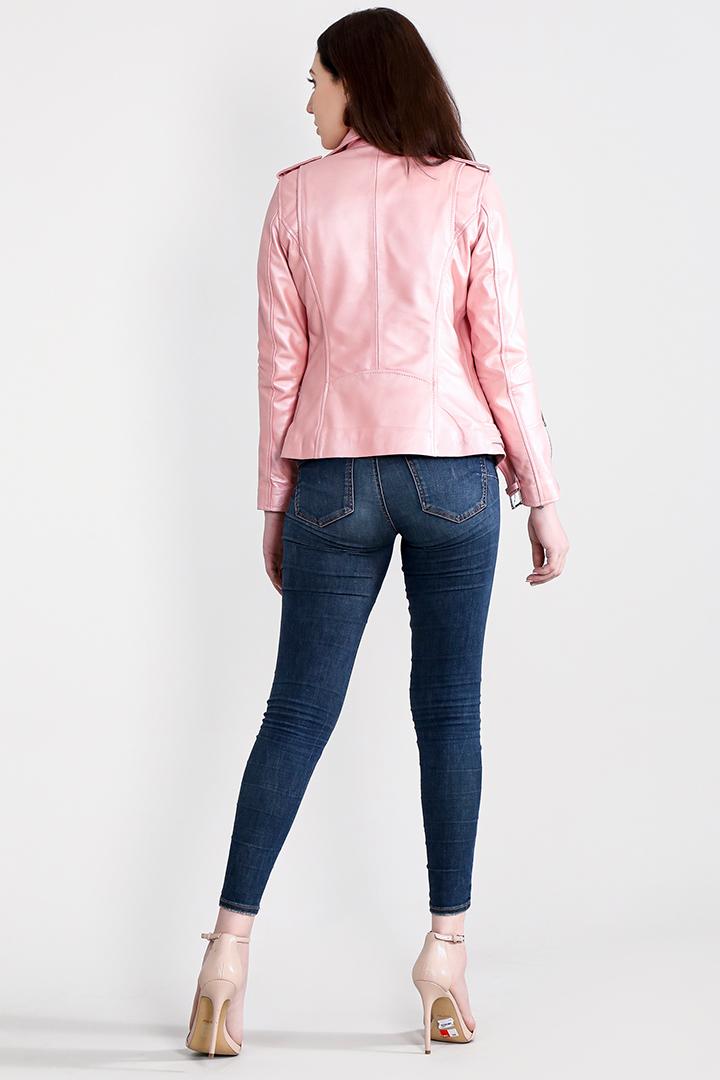Haley Rey Pink Leather Biker Jacket Full Back