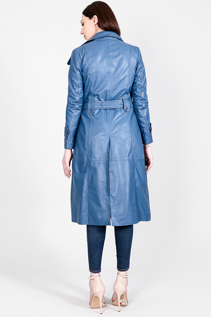 Missoni Blue Leather Trench Coat Full Back