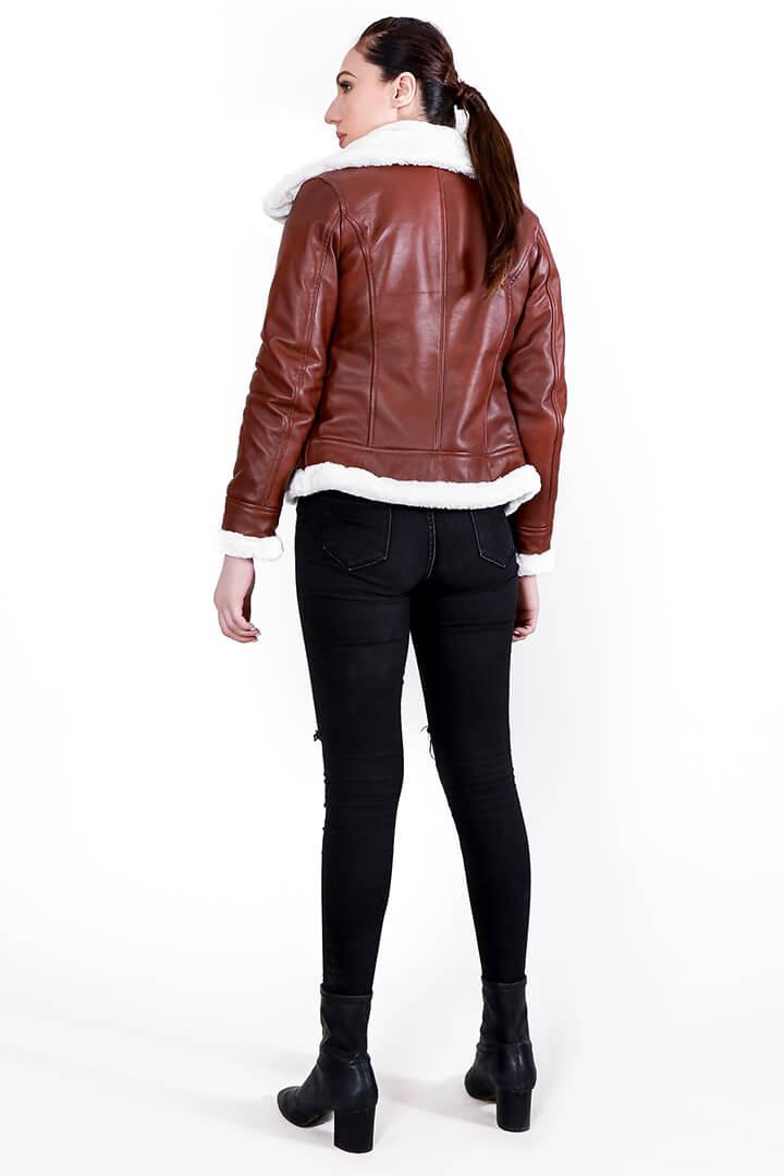 Vanda Fur Brown Leather Jacket Full Back
