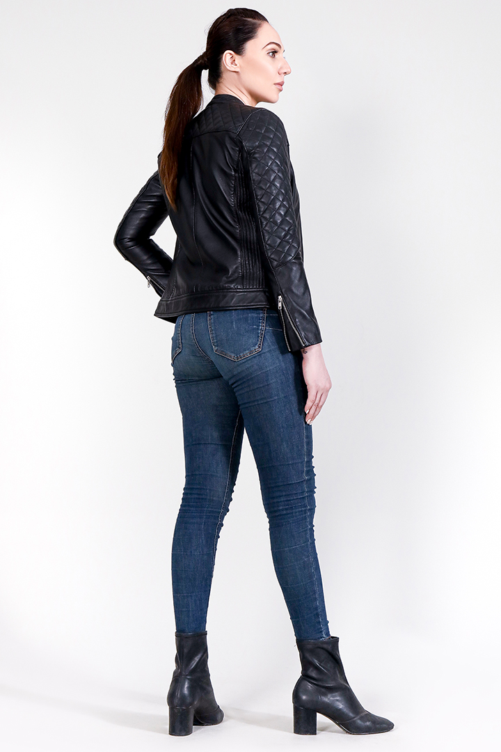 Marilyn Quilted Black Leather Jacket Full Back