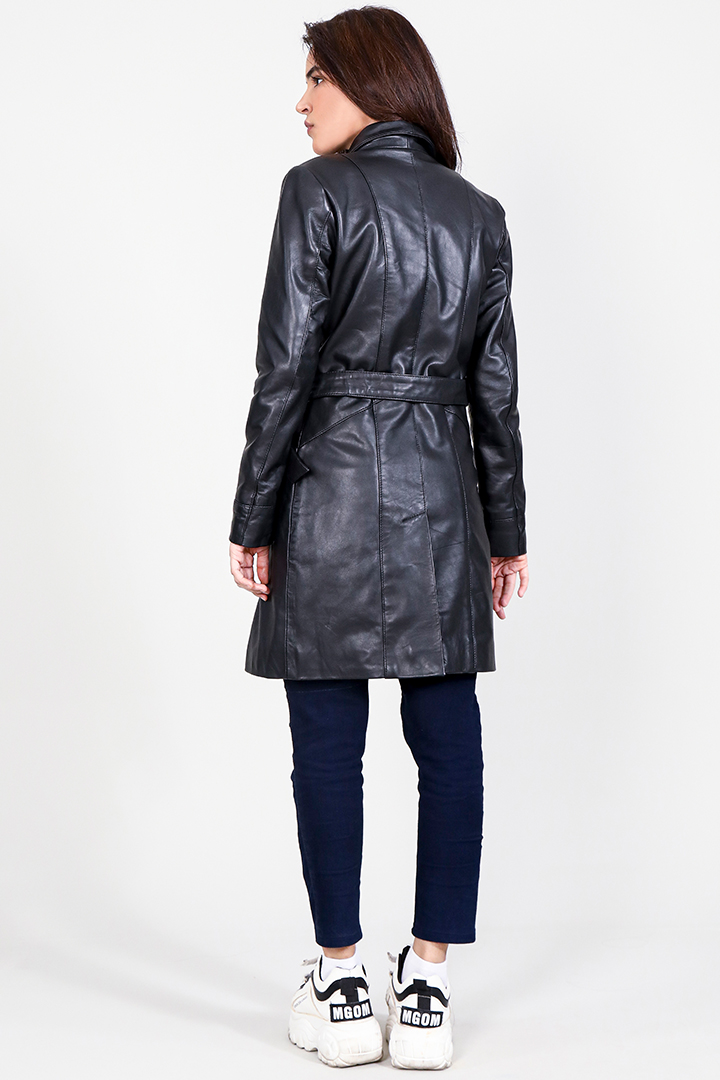 Luxe Black Leather Trench Coat Full Back