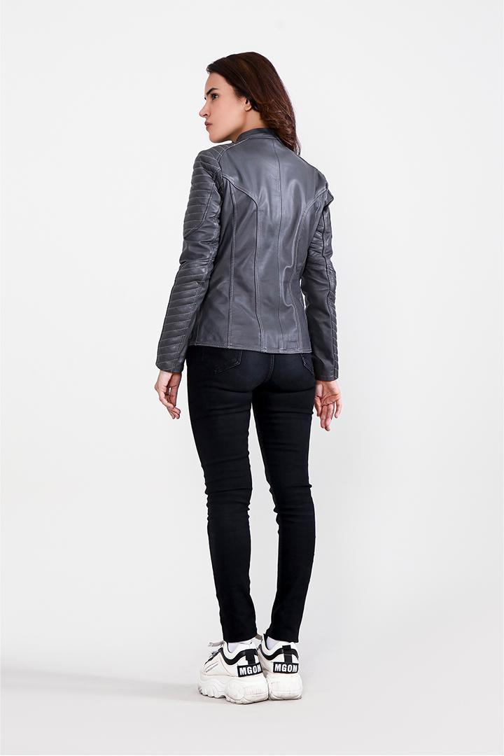 Celeste Quilted Grey Leather Jacket Full Back