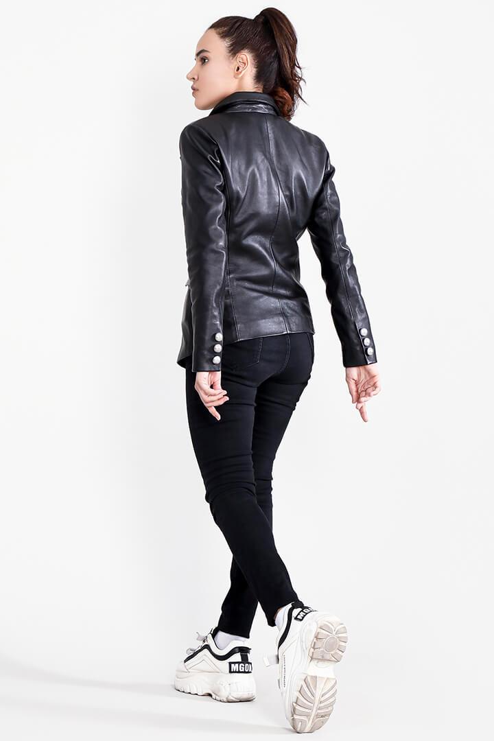 Norma Black Leather Blazer Full Back