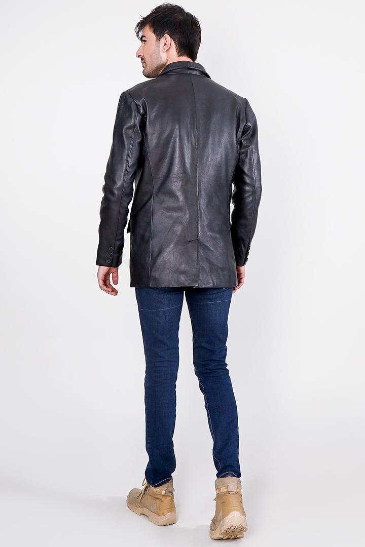 Ray Cutler Black Leather Blazer Full Back