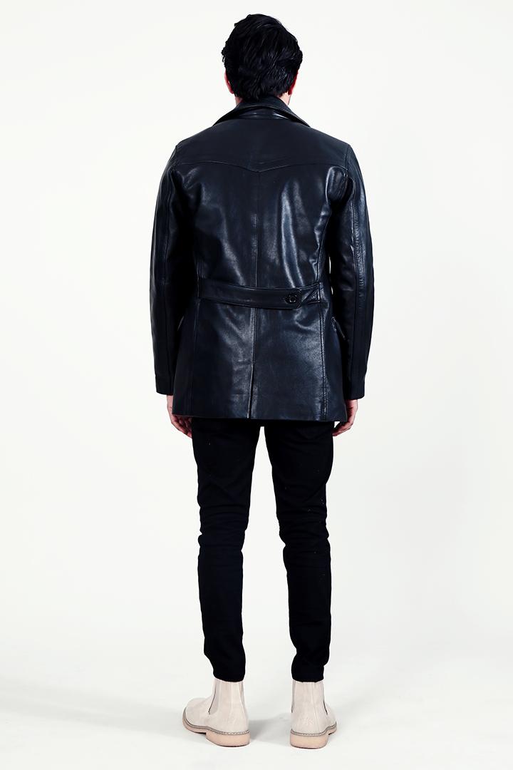 Dolf Black Leather Naval Peacoat Back Full